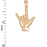 Yellow Gold I Love You Sign Pendant Necklace
