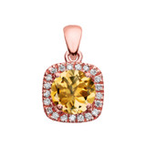 Halo Diamond and Citrine Dainty Rose Gold Pendant Necklace