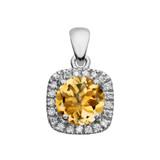 Halo Diamond and Citrine Dainty White Gold Pendant Necklace
