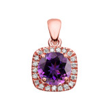 Halo Diamond and Amethyst Dainty Rose Gold Pendant Necklace