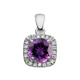 Halo Diamond and Amethyst Dainty White Gold Pendant Necklace
