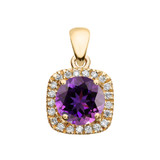 Halo Diamond and Amethyst Dainty Yellow Gold Pendant Necklace