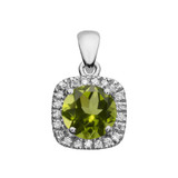 Halo Diamond and Peridot Dainty White Gold Pendant Necklace