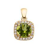 Halo Diamond and Peridot Dainty Yellow Gold Pendant Necklace