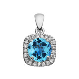 Halo Diamond and Blue Topaz Dainty White Gold Pendant Necklace