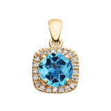 Halo Diamond and Blue Topaz Dainty Yellow Gold Pendant Necklace