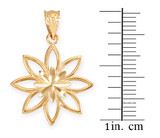 Yellow Gold Polished Daisy Pendant Necklace