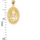 Yellow Gold Small Sacred Heart Of Jesus Pendant Necklace