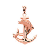 High Polished Rose Gold Textured Dolphin Anchor Pendant Necklace