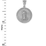 White Gold St Jude Diamond Disc Pendant Necklace