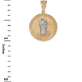 Yellow And White Gold St Jude Diamond Disc Pendant Necklace