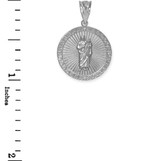 Sterling Silver St Jude CZ Disc Pendant Necklace