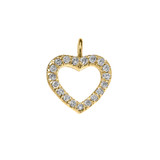 14K Reversible Diamond and High Polish Plain Open Heart Yellow Gold Charm Dainty Pendant Necklace