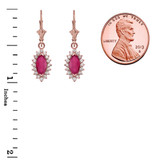 Diamond And Ruby Rose Gold Dangling Earrings