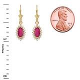Diamond And Ruby Yellow Gold Dangling Earrings