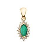 Diamond And Emerald Yellow Gold Elegant Pendant Necklace