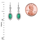Diamond And May Birthstone White Gold Dangling Earrings