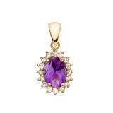Diamond And Amethyst Yellow Gold Elegant Pendant Necklace