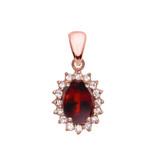 Diamond And Garnet Rose Gold Elegant Pendant Necklace