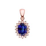 Diamond And September Birthstone Sapphire Rose Gold Elegant Pendant Necklace