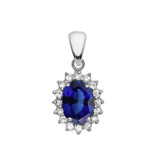 Diamond And September Birthstone CZ Sapphire White Gold Elegant Pendant Necklace