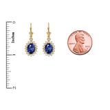Diamond And September Birthstone Sapphire Yellow Gold Dangling Earrings