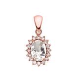 Diamond And April Birthstone CZ Rose Gold Elegant Pendant Necklace