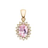 Diamond And October Birthstone Pink CZ Yellow Gold Elegant Pendant Necklace