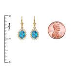 Diamond And Blue Topaz Yellow Gold Dangling Earrings