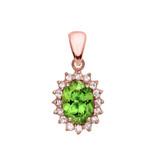 Diamond And Peridot Rose Gold Elegant Pendant Necklace