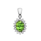 Diamond And Peridot White Gold Elegant Pendant Necklace