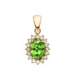 Diamond And Peridot Yellow Gold Elegant Pendant Necklace