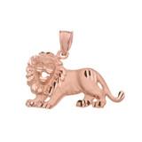 Satin Finish Diamond Cut Rose Gold Roaring Lion Charm Pendant Necklace