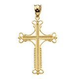 Yellow Gold Amulet Christian Cross Pendant Necklace