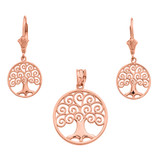 14K Rose Gold Polished Tree of Life Openwork Necklace Earring Set