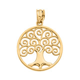 Yellow Gold Polished Tree of Life Openwork Pendant Necklace