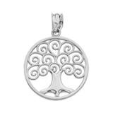 White Gold Polished Tree of Life Openwork Pendant Necklace