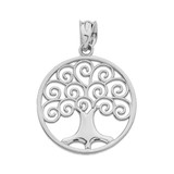 Sterling Silver Polished Tree of Life Openwork Pendant Necklace