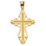 Yellow Gold Heart Filigree Cross Pendant Necklace