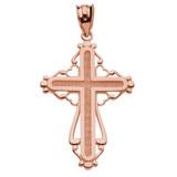 Rose Gold Heart Filigree Cross Pendant Necklace