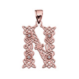 """""""N"""" Initial In Celtic Knot Pattern Rose Gold Pendant Necklace With Diamond"""