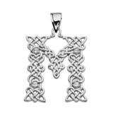 """""""M"""" Initial In Celtic Knot Pattern White Gold Pendant Necklace With Diamond"""