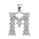 """""""M"""" Initial In Celtic Knot Pattern Sterling Silver Pendant Necklace With CZ"""