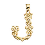 """""""J"""" Initial In Celtic Knot Pattern Yellow Gold Pendant Necklace With Diamond"""