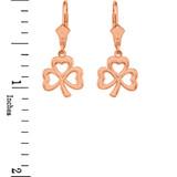 14K Rose Gold Polished Lucky Shamrock Earrings