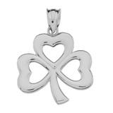 Sterling Silver  Polished Lucky Shamrock Pendant Necklace