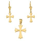 14K Yellow Gold Roman Catholic Necklace Earring Set
