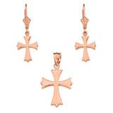 14K Rose Gold Roman Catholic Necklace Earring Set