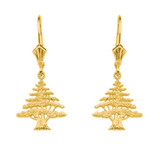 14K Yellow Gold Lebanese Cedar Tree  Necklace Earring Set