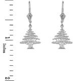 Sterling Silver Lebanese Cedar Tree Earrings